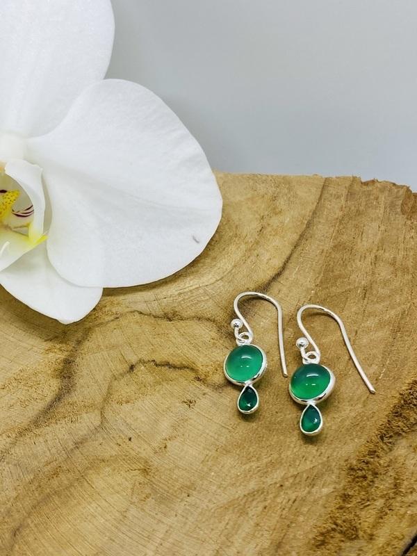 Boucles d'oreilles argent - Pierres calédoine et onyx verts
