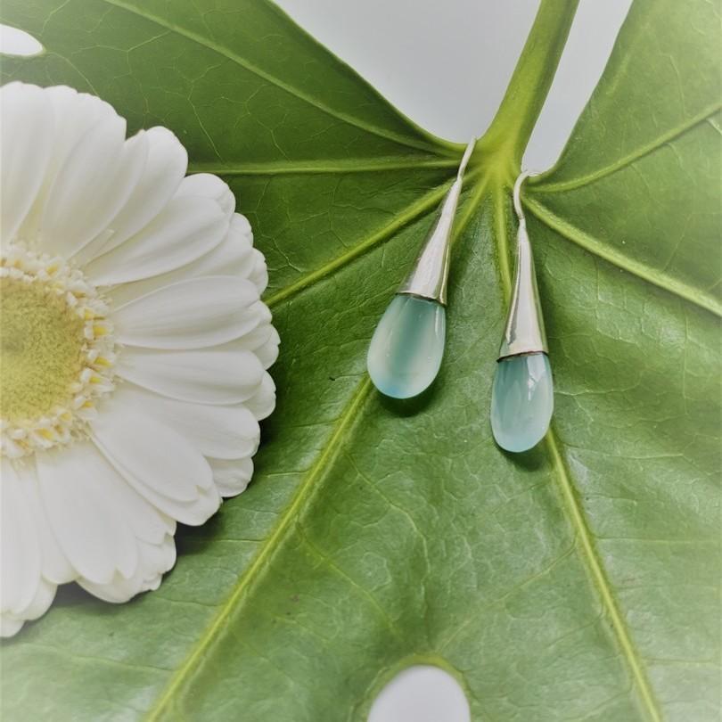 Boucles d'oreilles argent - Pierres Calcédoine bleues